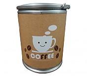 다용도보관통 COFFEE 인쇄형(((중소/강판뚜껑)))Φ350 x 400h